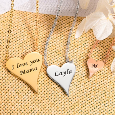 Engraved Dainty Heart Necklace I Love You Mama Necklace