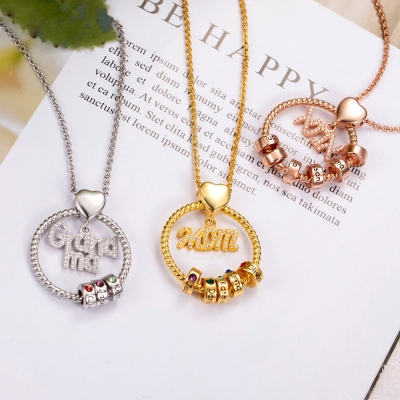 Personalized Name and Birthstone Family Necklace for Mother in Rose Gold