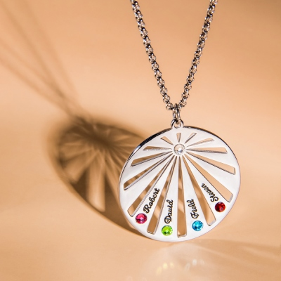Personalized Circle Family Necklace with Birthstone