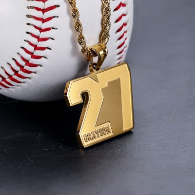 Personalized Sports Number Necklace Stainless Steel