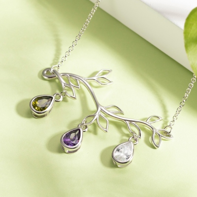 Personalized Family Tree Branch Birthstone Necklace/Bracelet