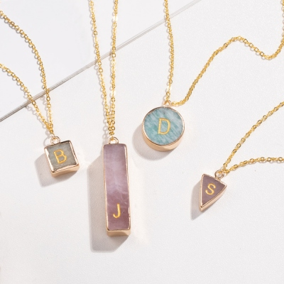 Personalized Natural Stone Initial Necklace