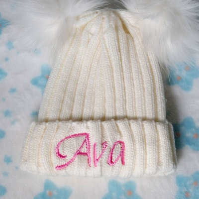 Newborn Pompom Hats with Customizable Name for Baby Shower Gift