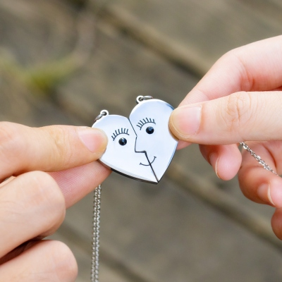 Personalized Heart Couple Necklace