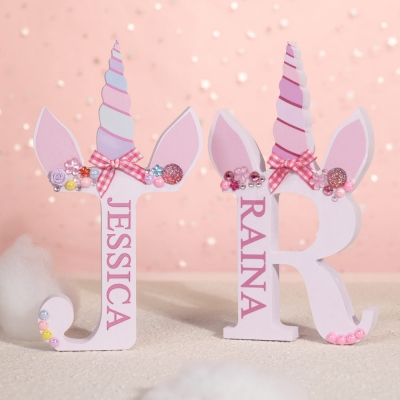 Personalized Wooden Unicorn Style Letter