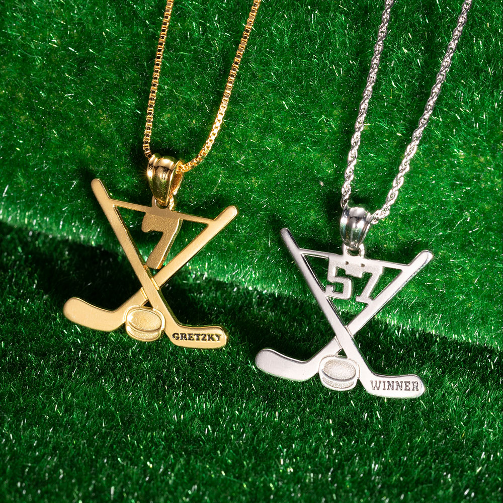 Custom Hockey Necklace Ice Hockey Sticks Jewelry
