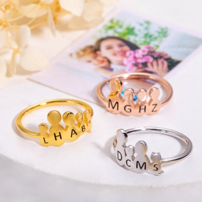 Personalized Family Members & Pet Images Ring in Silver