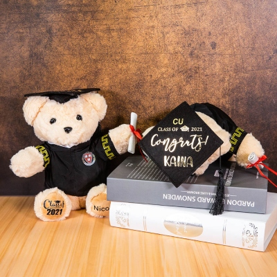 Personalized Graduation Teddy Bear with School Badge