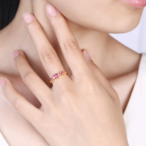 Heart Shaped Gemstone Ring Gold plated silver