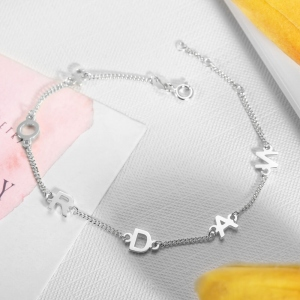 Personalized Sideways Initial Necklace or Bracelet