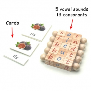 Original Montessori Reading Block and Cards Set