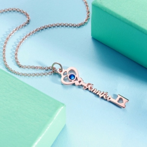 Personalized Key to True Love Birthstone Name Necklace