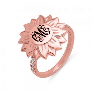 Personalized Monogram Blackened Sunflower Ring