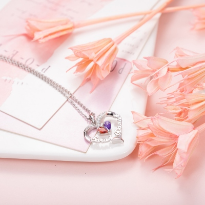 Forever Together Birthstone Name Heart Collier