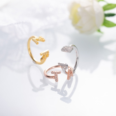 Personalized Initial Cuff Ring