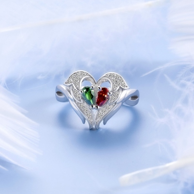 Personalized Angel Wings Ring with Two Birthstones
