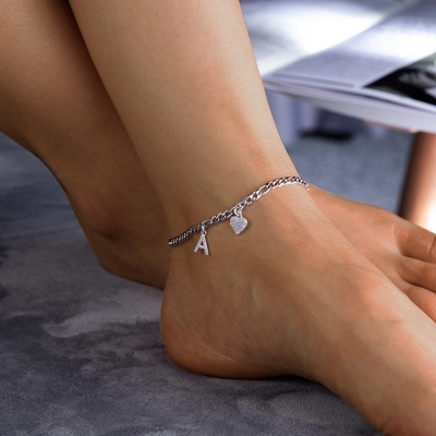 Personalized Unique Sparkle Initial Anklet in Rose Gold