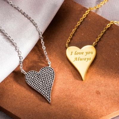 Personalized Pave Birthstone Heart Necklace