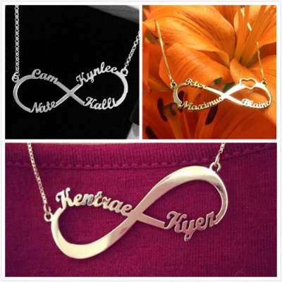Custom Engraved Sterling Silver Infinity Name Necklace