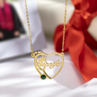 Personalized Heart Stethoscope Name Necklace