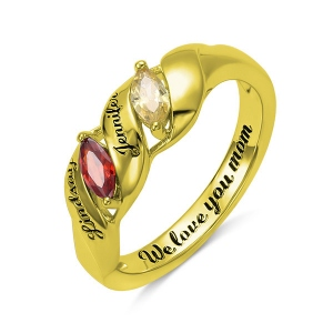 Engraved Mother's Twining Ring with 2 Horse Eye Birthstones