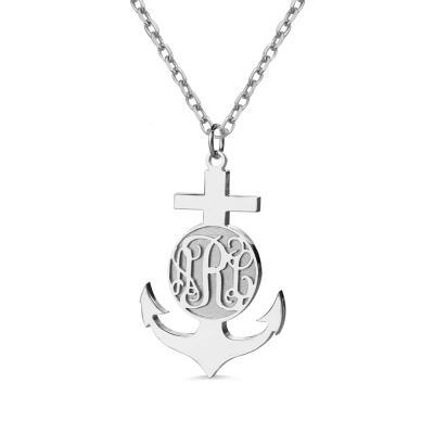 Sterling Silver Anchor Monogram Initial Necklace