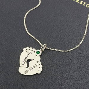 Personalized Baby Feet Birthstone Necklace