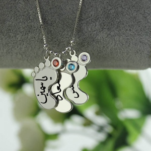 Personalized Mother's Birthstone Necklace with 3 Baby Feet