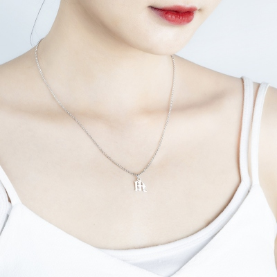 Personalized Gothic Initial Necklace for Woman