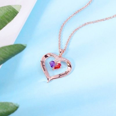 Personalized Heart Birthstone Necklace & Ring