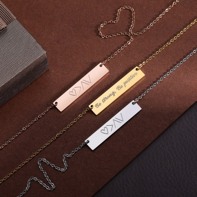 """God is greater than the highs and lows"" Personalized Bar Necklace"