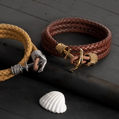 Personalized Men's Anchor Leather Bracelet Father's Day Gift