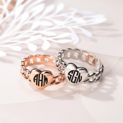 Personalized Filigrees Monogram Ring