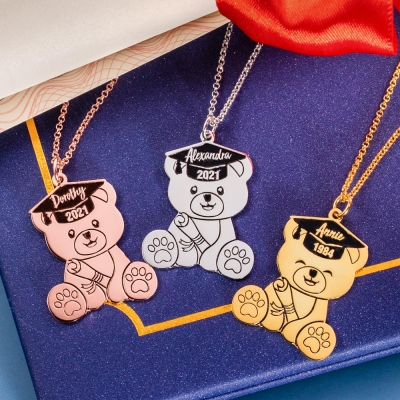 Custom Bear Necklace for Graduation Gift