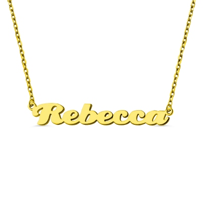 Personalized Gold Plated Silver Puff Font Name Necklace