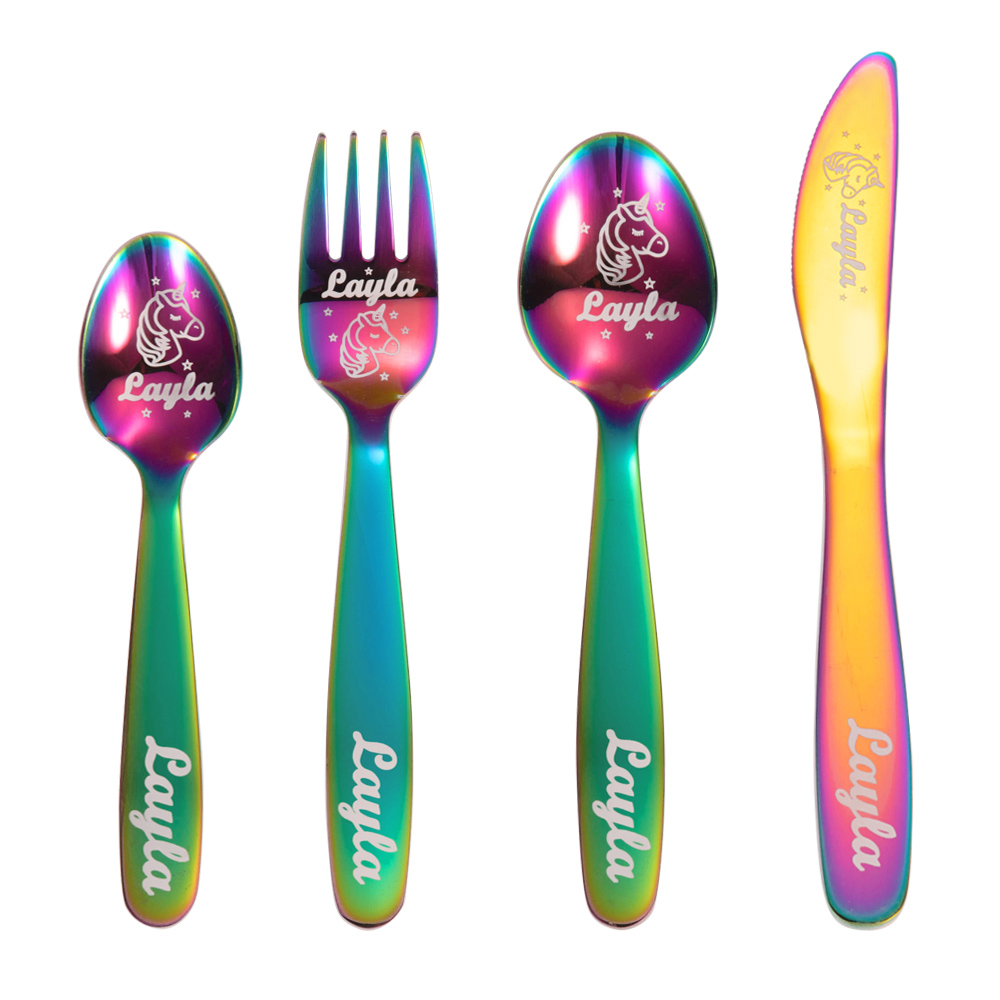 Personalized Cutlery Sets with Unicorn Gift for Kids