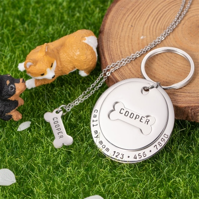 Personalized Collar Tag & Bone Necklace
