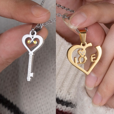 Custom Heart & Key Necklaces Couple Necklaces