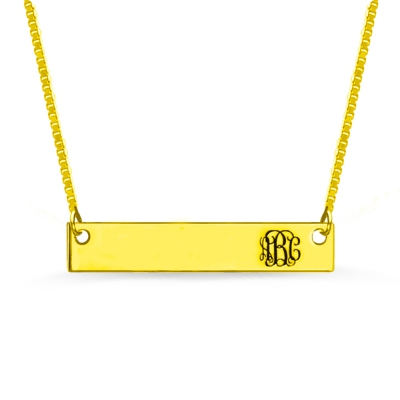 Personalized Gold Bar Monogram Initial Necklace