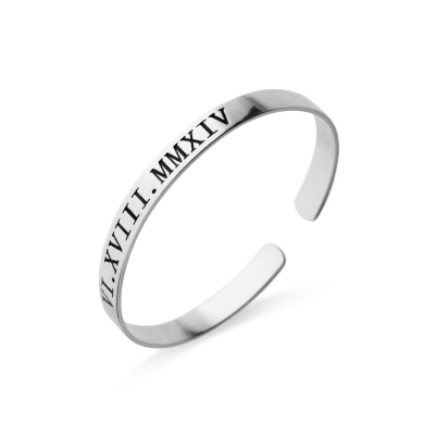 Personalized Roman Numeral Date Cuff Bangle Sterling Silver