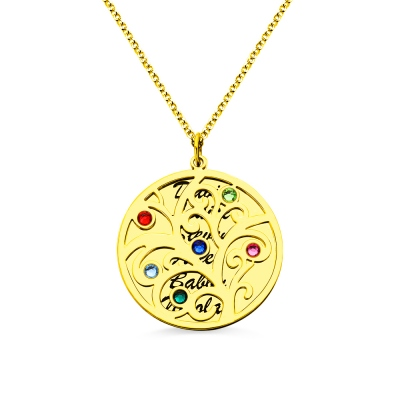 18K Gold Plated Family Tree Birthstone Name Necklace