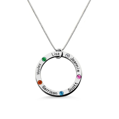 Silver Circle Family Necklace with 5 Names & Birthstones