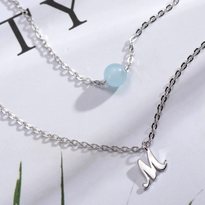 Personalized Double-Layer Initial Necklace with Birthstone