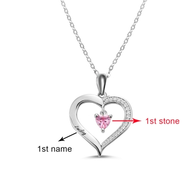 Personalized Heart Birthstone Necklace with Engraving in Silver