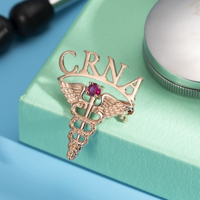 Personalized Medical Graduation Theme Pin with Birthstone