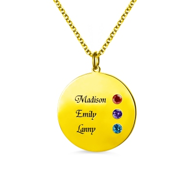 Custom Disc Necklace Engraved 3 Names For Mom