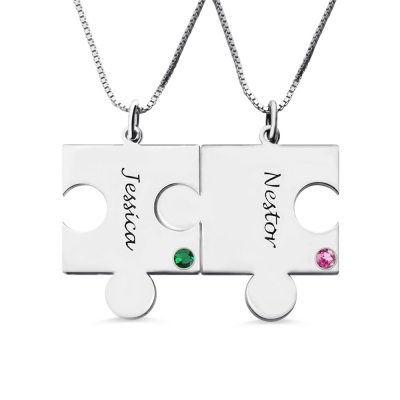 Engraved Puzzle Love Name Necklace for Couples Silver