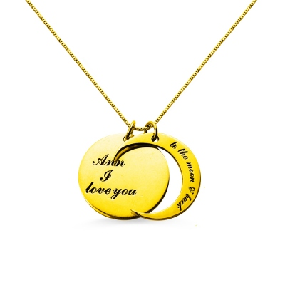 I Love You to The Moon and Back Love Necklace 18k Gold Plated