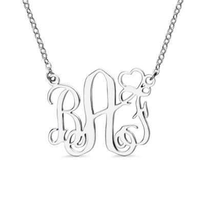 Personalized Initial Monogram Necklace With Heart Sterling Silver