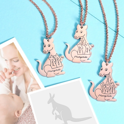 Personalized Kangaroo Family Necklace